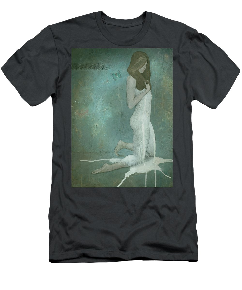 Green Men's T-Shirt (Athletic Fit) featuring the painting Shavata by Steve Mitchell