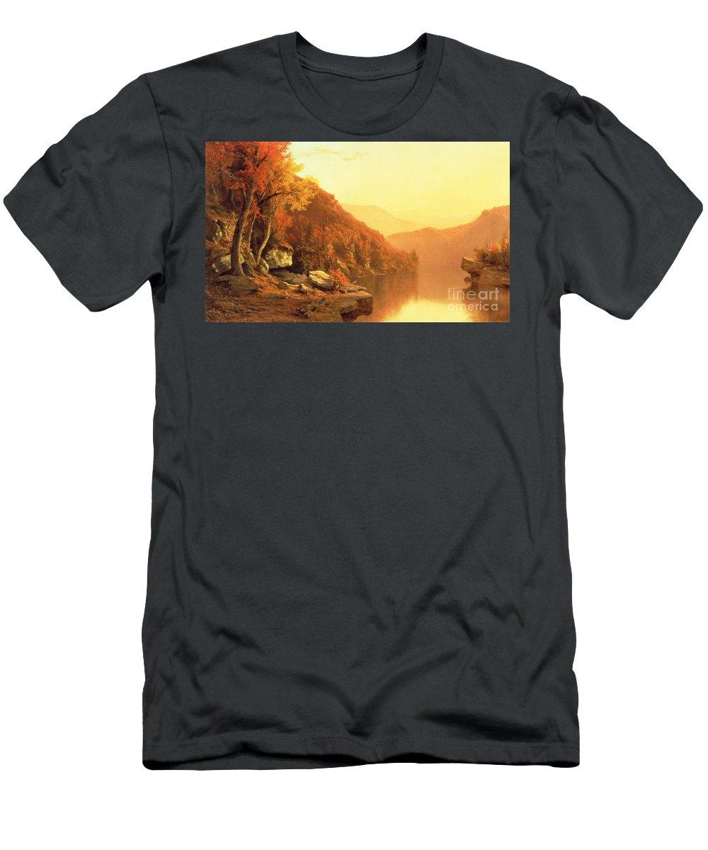 Shawanagunk Mountains Men's T-Shirt (Athletic Fit) featuring the painting Shawanagunk Mountains by Jervis McEntee