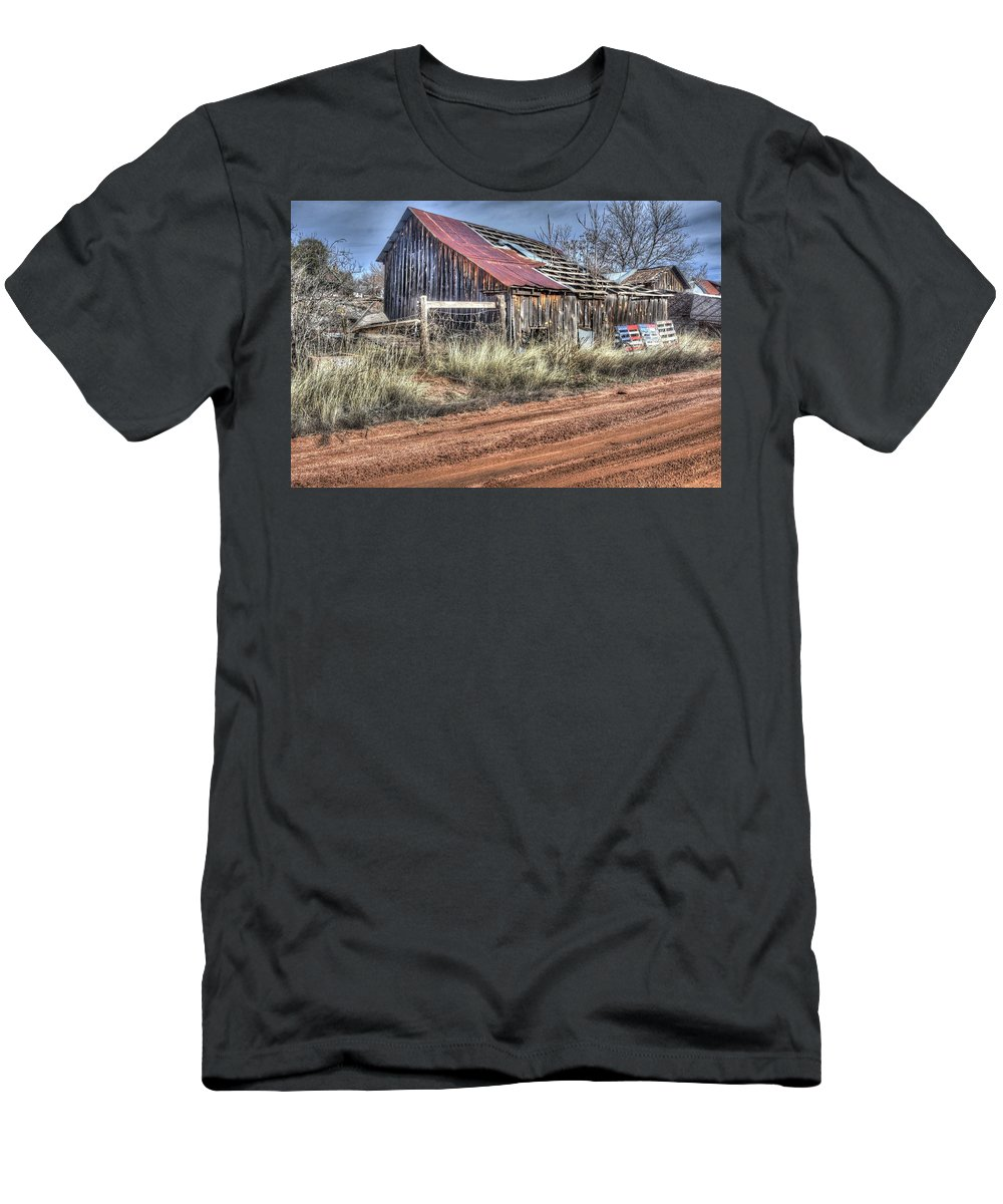 Old Deteriorated Aged Decayed Barn Country Life Livestock Horses Cattle Rotten Wood Abandoned Nature Trees Grass Bushes Weeds Weather Elements Critters Hdr Payson Northern Arizona Men's T-Shirt (Athletic Fit) featuring the photograph She Had A Good Life by Thomas Todd