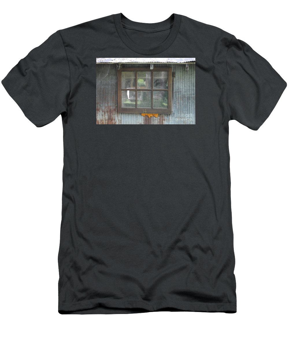 Country Men's T-Shirt (Athletic Fit) featuring the photograph Shed Window by Jost Houk