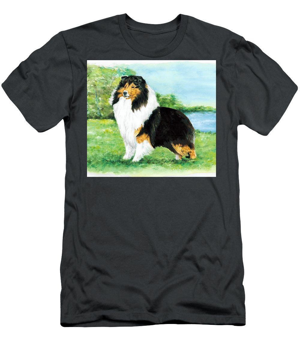 Shetland Sheepdog Men's T-Shirt (Athletic Fit) featuring the painting Sheltie Wait by Kathleen Sepulveda