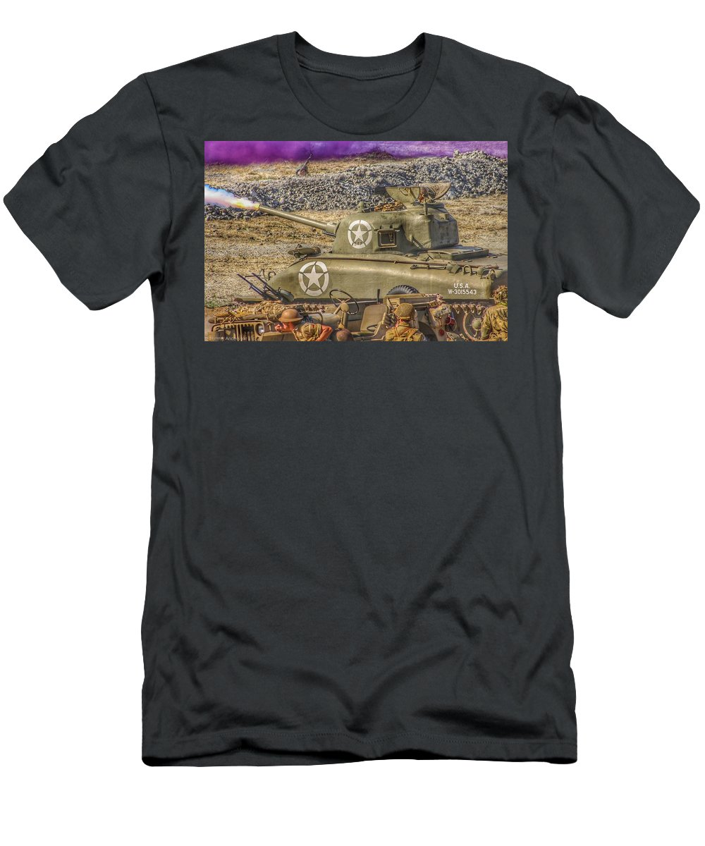 Soldier Men's T-Shirt (Athletic Fit) featuring the photograph Sherman Attack by Tommy Anderson