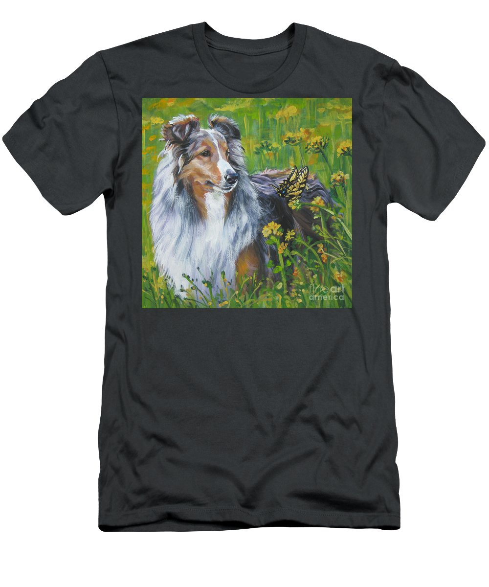 Dog Men's T-Shirt (Athletic Fit) featuring the painting Shetland Sheepdog Wildflowers by Lee Ann Shepard