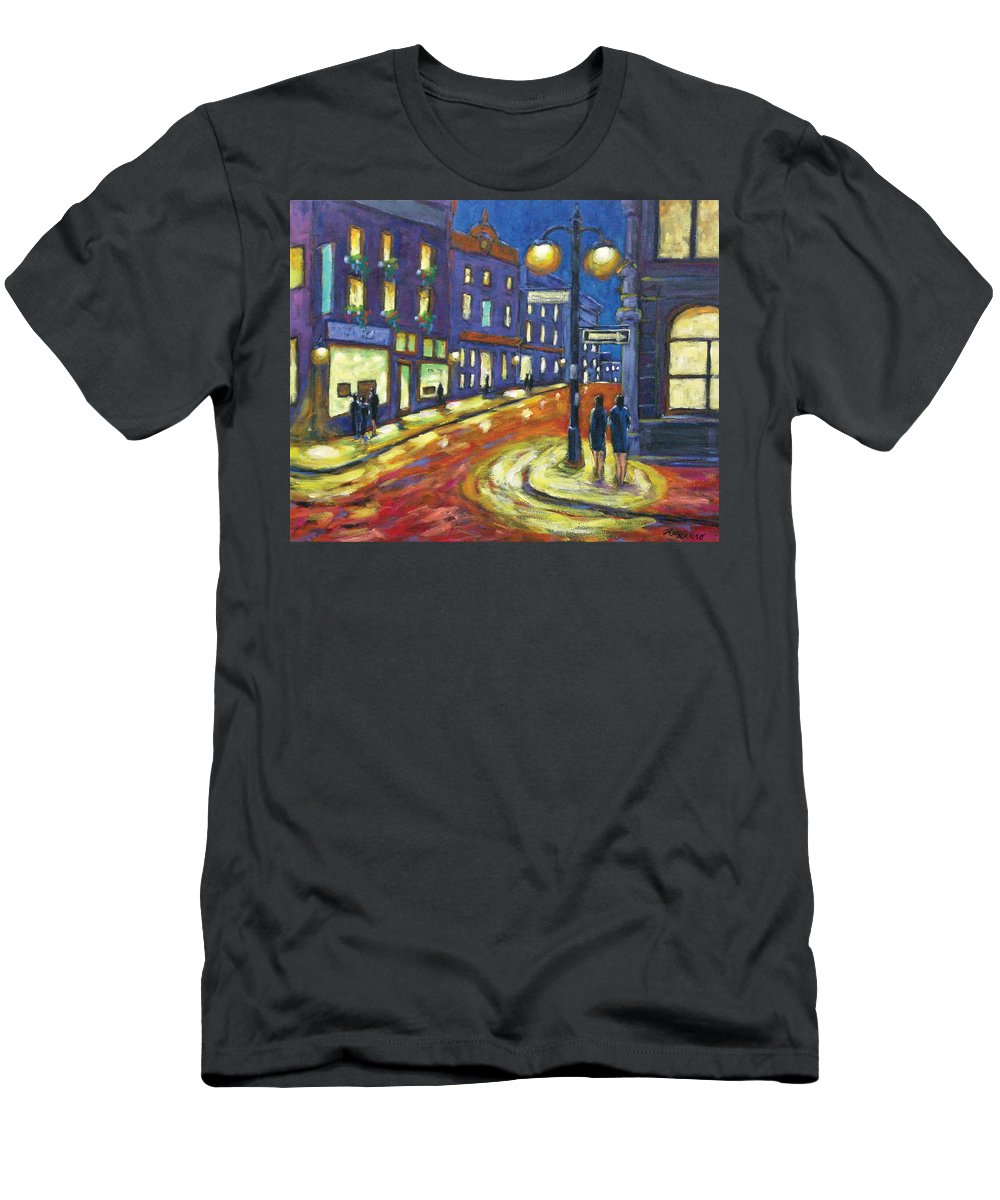 Night Men's T-Shirt (Athletic Fit) featuring the painting Shimmering Night by Richard T Pranke