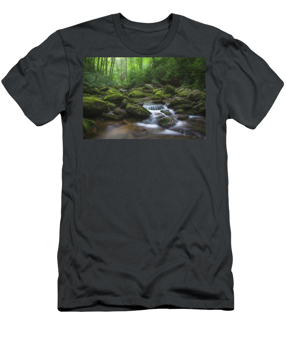 Landscape Men's T-Shirt (Athletic Fit) featuring the photograph Shining Creek by Dawnfire Photography