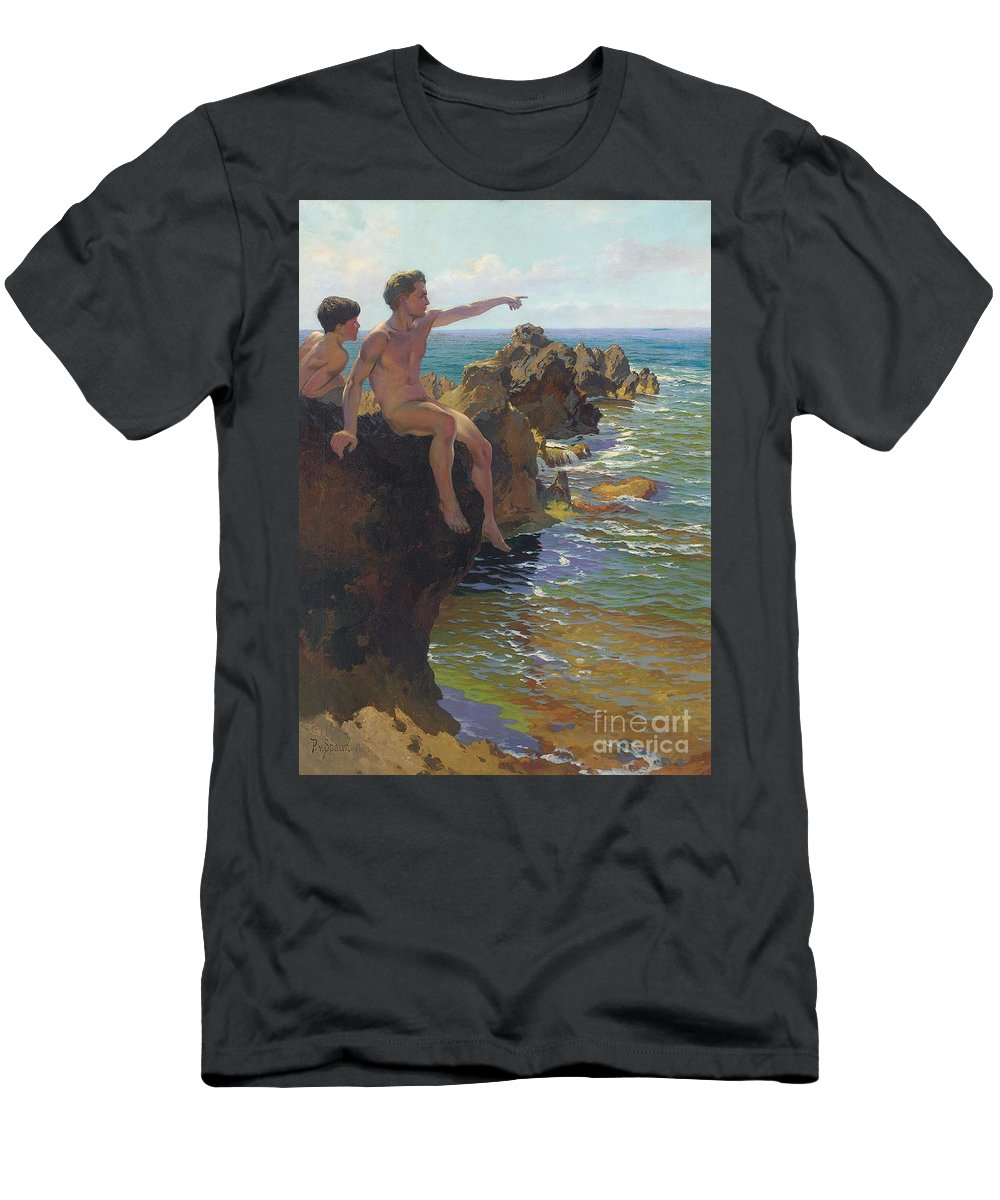 Male T-Shirt featuring the painting Ship Ahoy by Paul Von Spaun