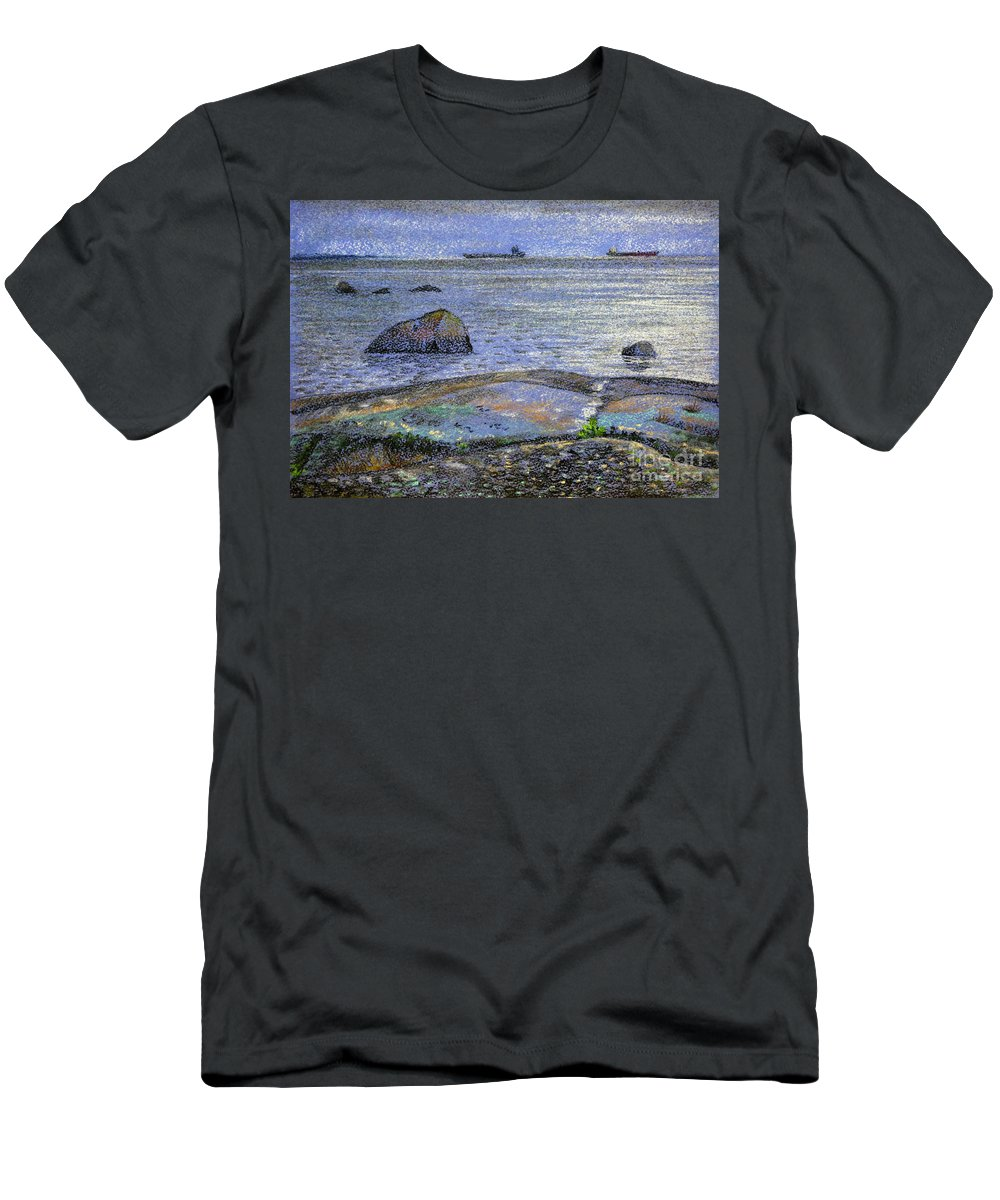 Landscape Men's T-Shirt (Athletic Fit) featuring the drawing Ships And Stones by Anna Vasilkova