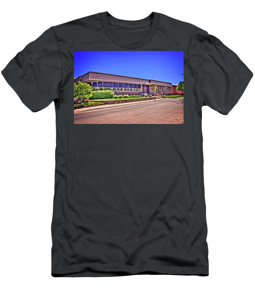Bloomington Men's T-Shirt (Athletic Fit) featuring the photograph Shirk Products Factory by Fred Hahn
