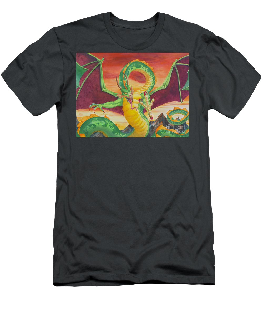 Dragon Men's T-Shirt (Athletic Fit) featuring the painting Shivan Dragon 3.0 by Melissa A Benson