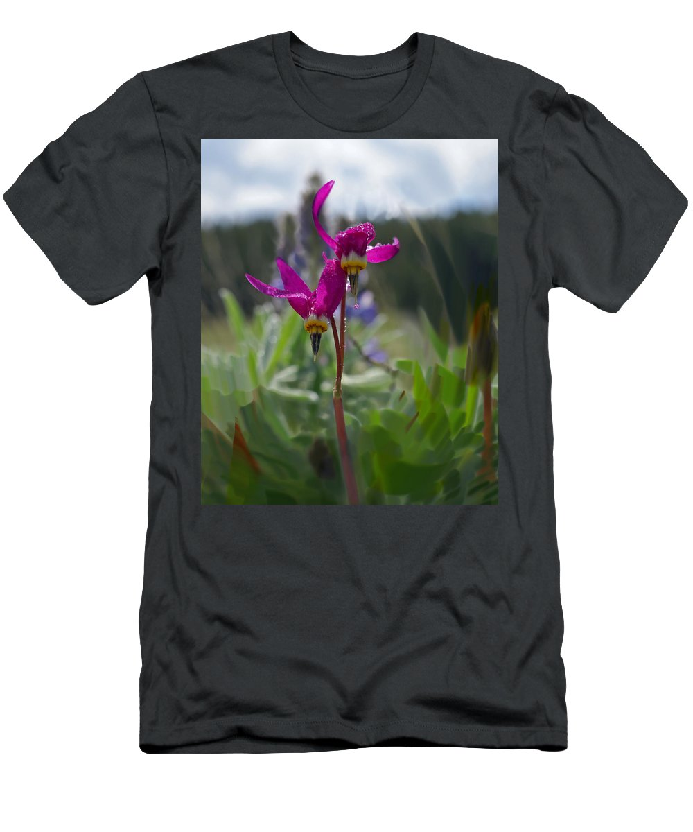 Wild Flower Men's T-Shirt (Athletic Fit) featuring the photograph Shooting Star by Heather Coen
