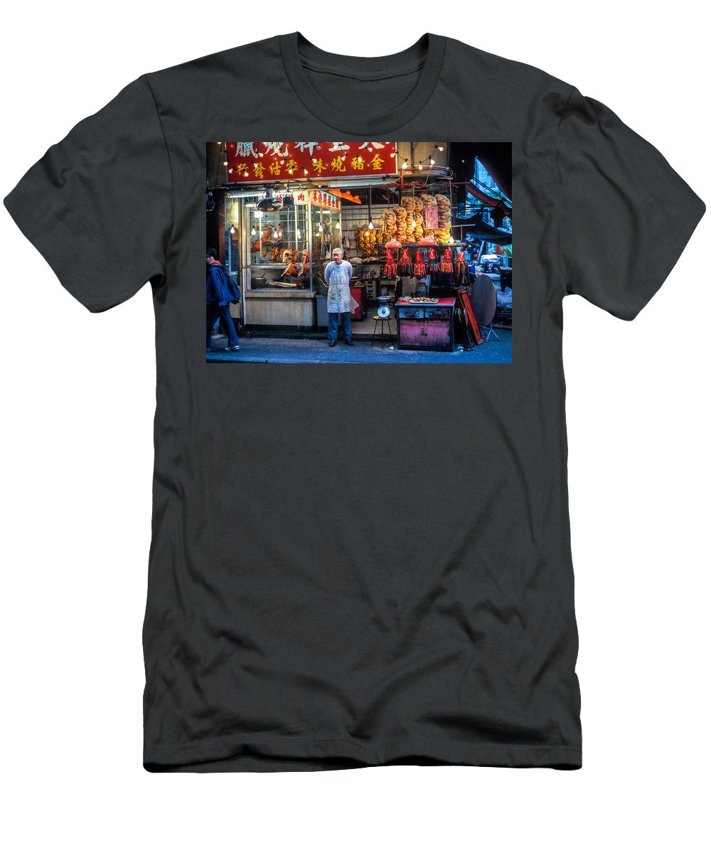 Adult Men's T-Shirt (Athletic Fit) featuring the photograph Shop Owner Standing In Front Of Poultry Shop On Temple Street Night Market Kowloon Hong Kong China by Ruurd Dankloff