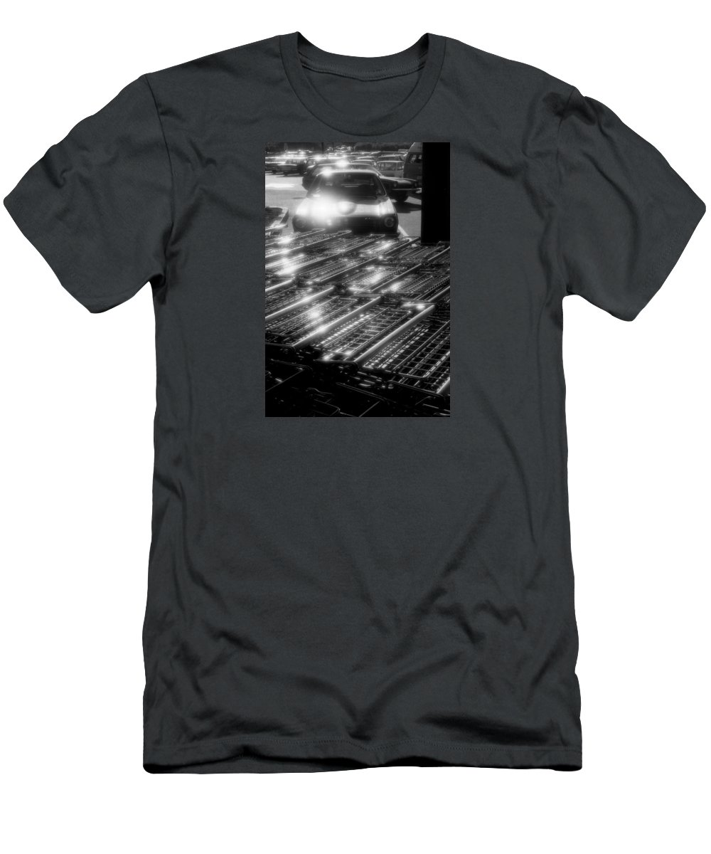 Black And White Men's T-Shirt (Athletic Fit) featuring the photograph Shopping Carts by Lyle Crump