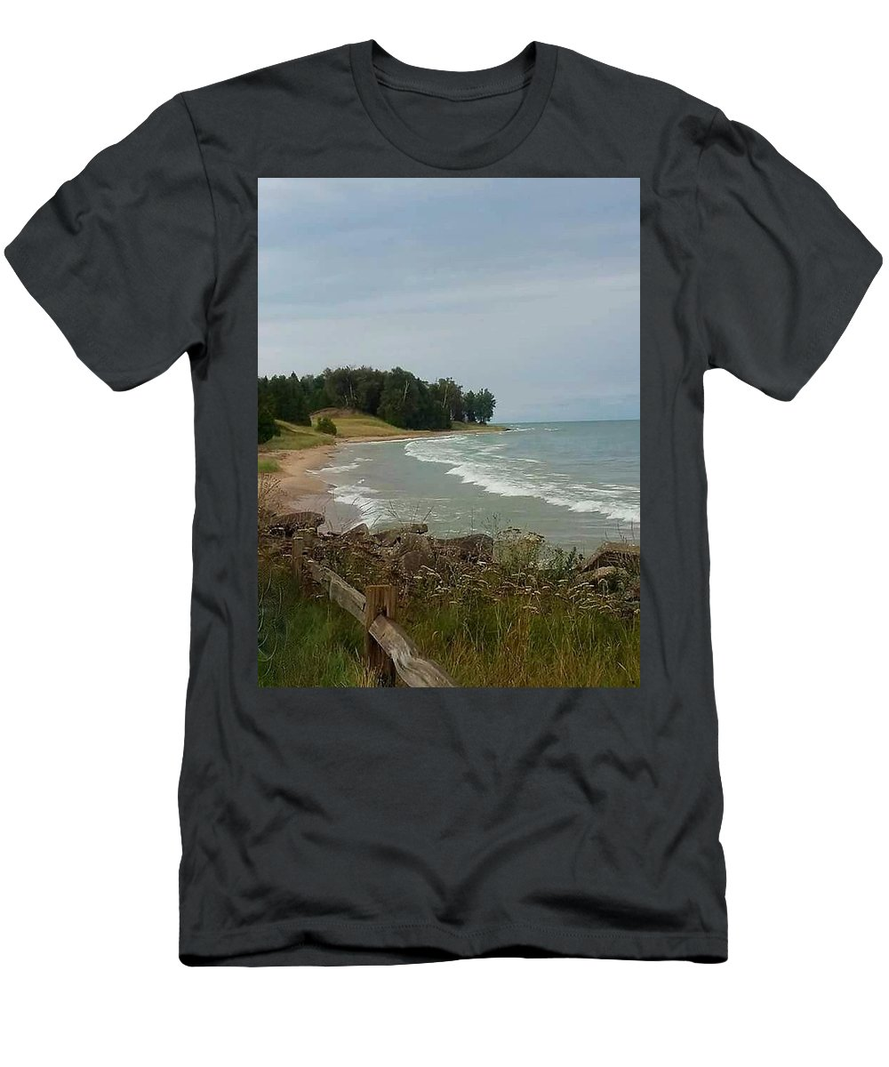 Shore Men's T-Shirt (Athletic Fit) featuring the photograph Shoreline by Karla Hoffman