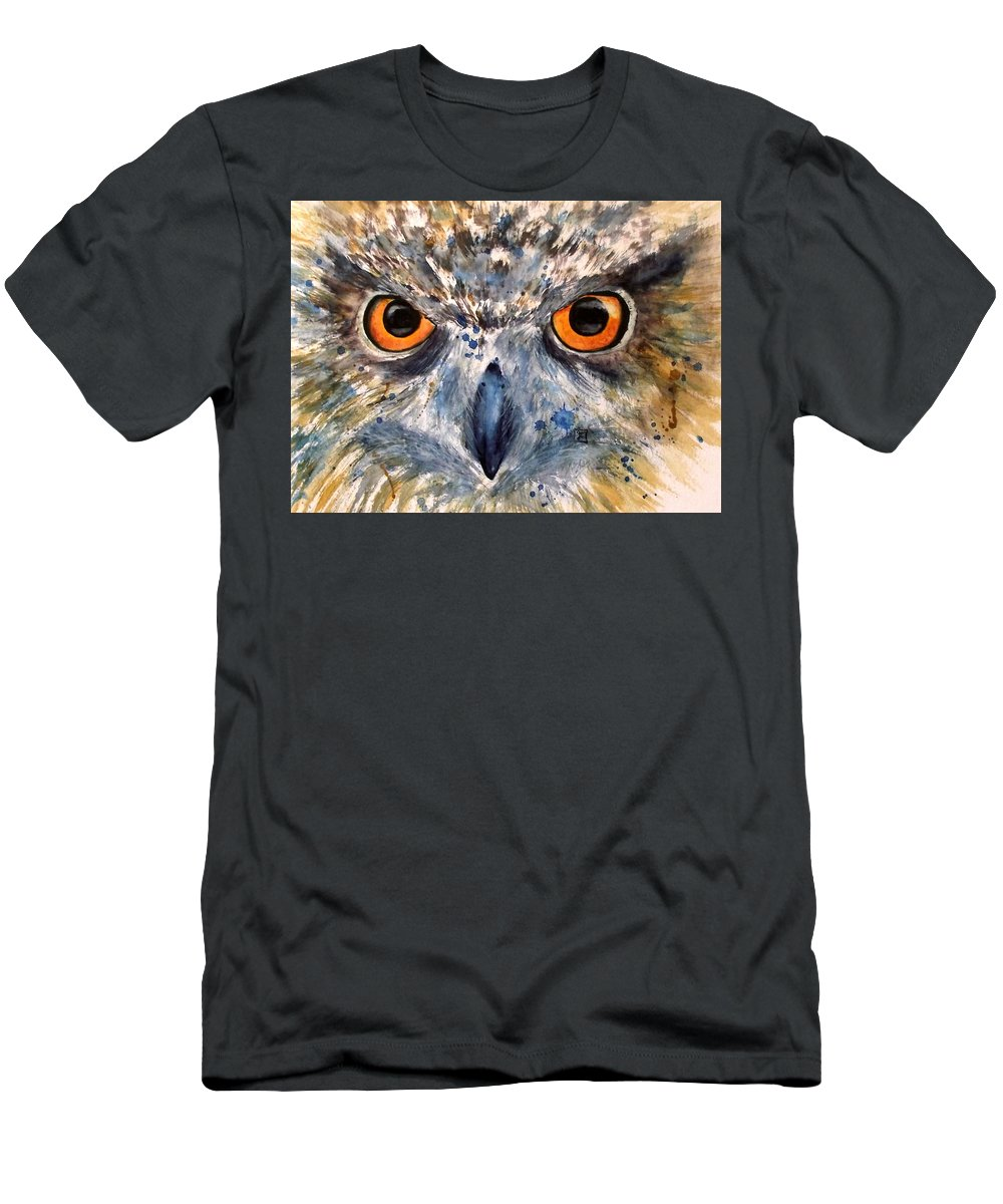 Owl Men's T-Shirt (Athletic Fit) featuring the painting Short Eared Owl by Ruth Trinczek-Helten