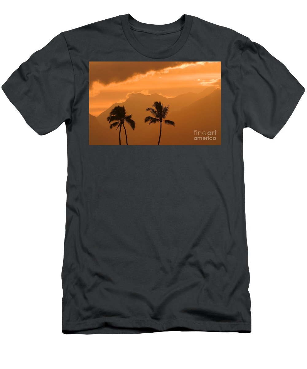 Bright Men's T-Shirt (Athletic Fit) featuring the photograph Silhouetted Palms by Ron Dahlquist - Printscapes