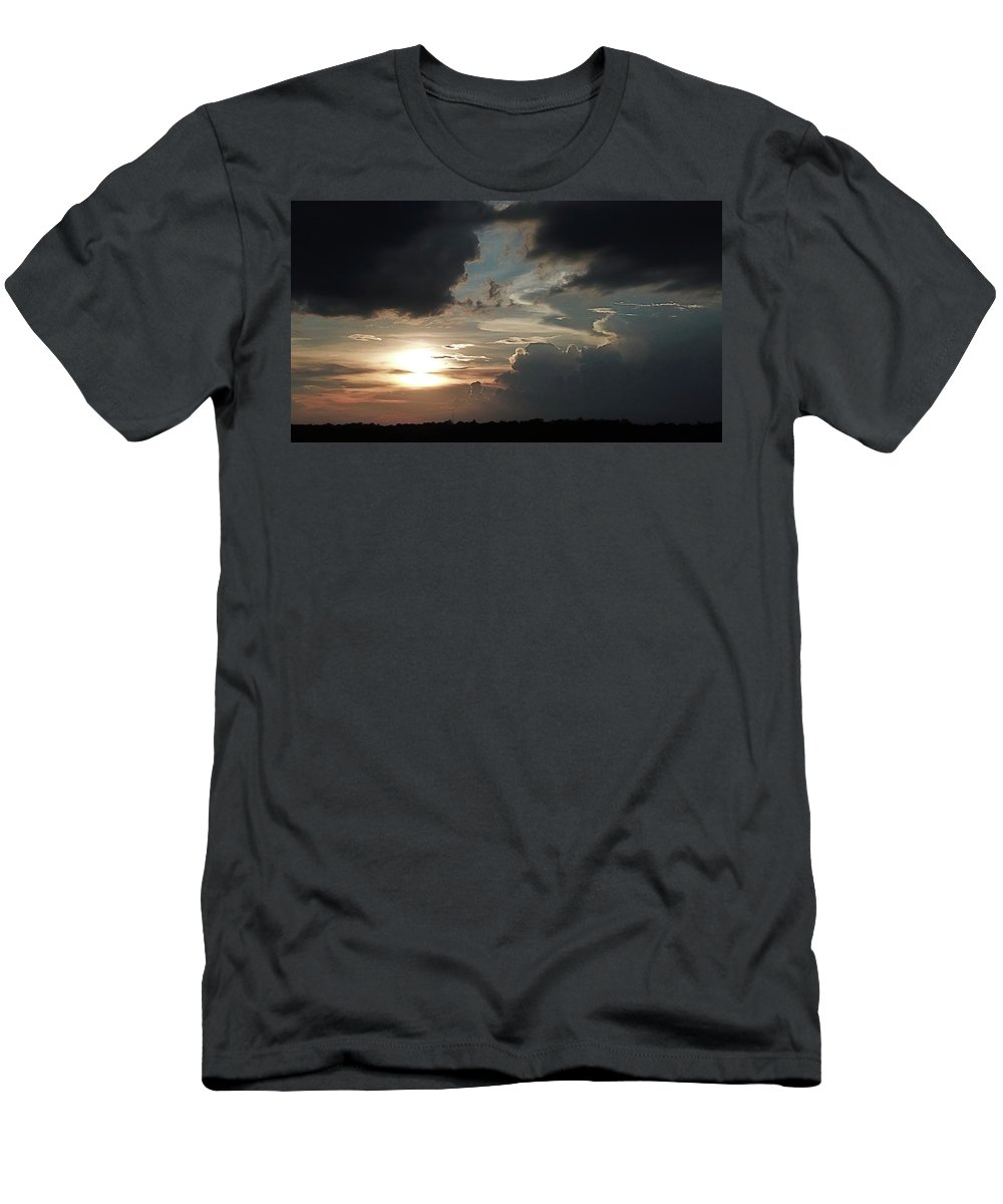 Abington Sunset In Kernersville Nc Men's T-Shirt (Athletic Fit) featuring the digital art Silver Lining by James Mcpherson