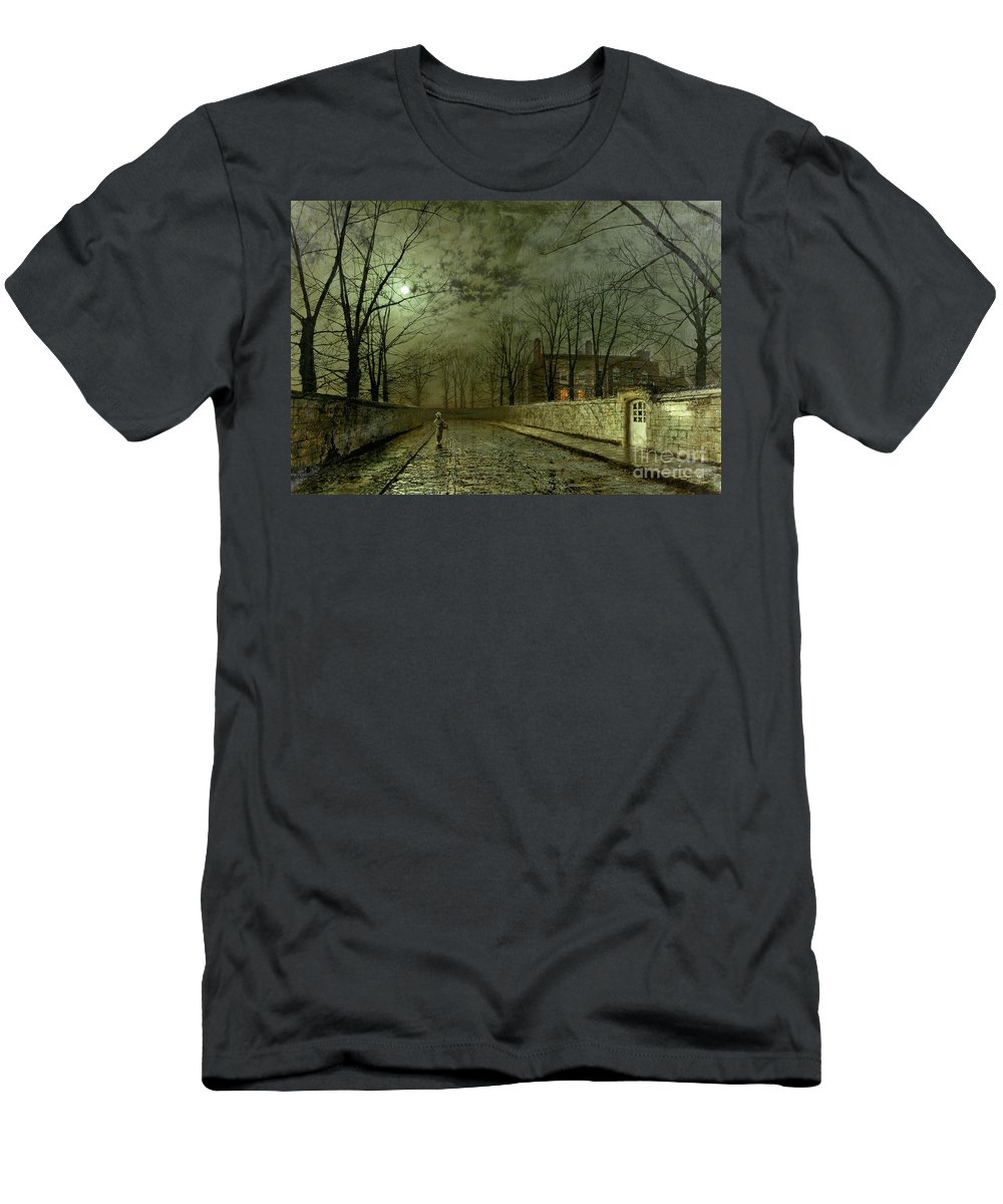 Silver Moonlight Men's T-Shirt (Athletic Fit) featuring the painting Silver Moonlight by John Atkinson Grimshaw