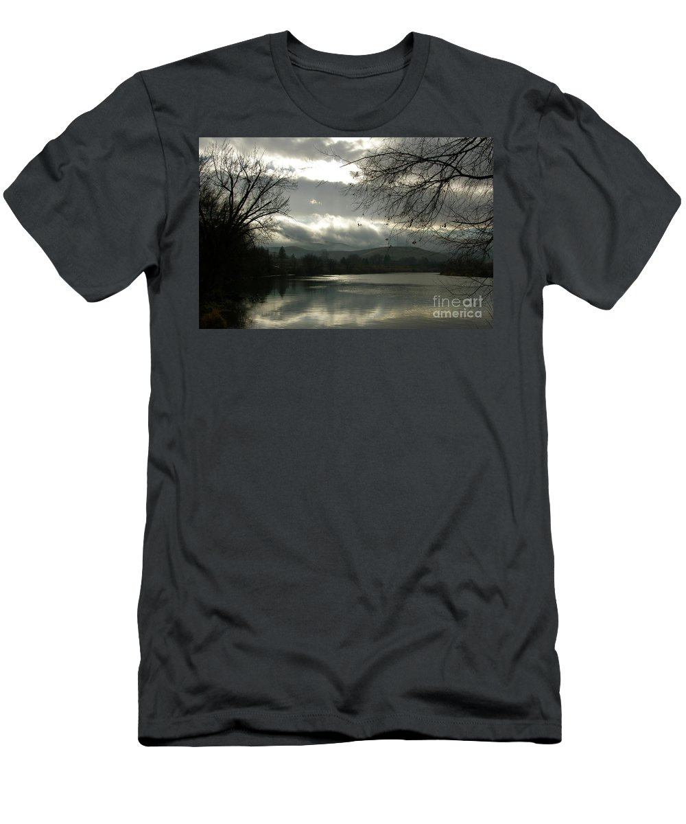 Prosser Men's T-Shirt (Athletic Fit) featuring the photograph Silver River by Carol Groenen