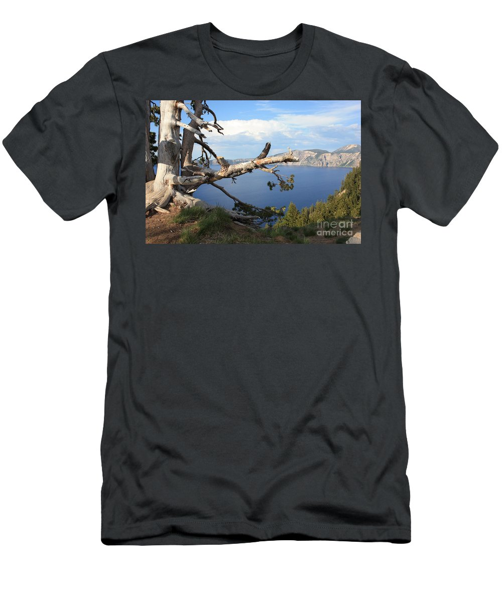 Crater Lake Men's T-Shirt (Athletic Fit) featuring the photograph Silvery Tree Over Crater Lake by Carol Groenen