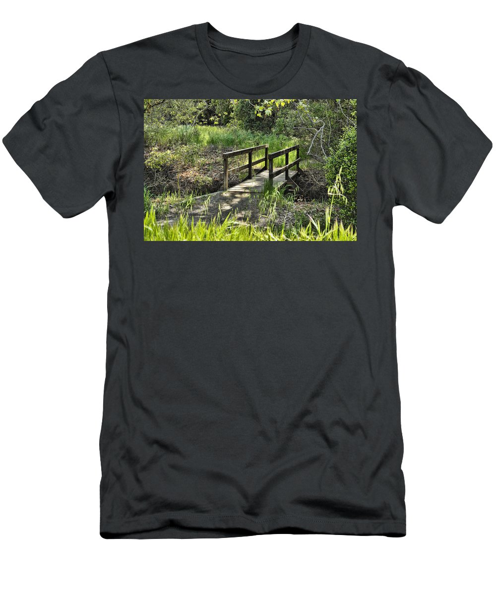 Wood Bridge Men's T-Shirt (Athletic Fit) featuring the photograph Simple Bridge by Kelley King
