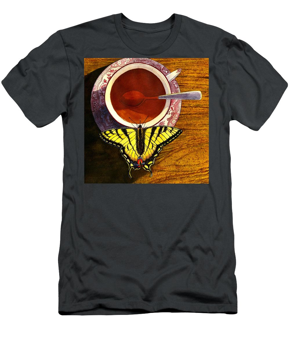 Butterfly Men's T-Shirt (Athletic Fit) featuring the painting Sippin by Catherine G McElroy