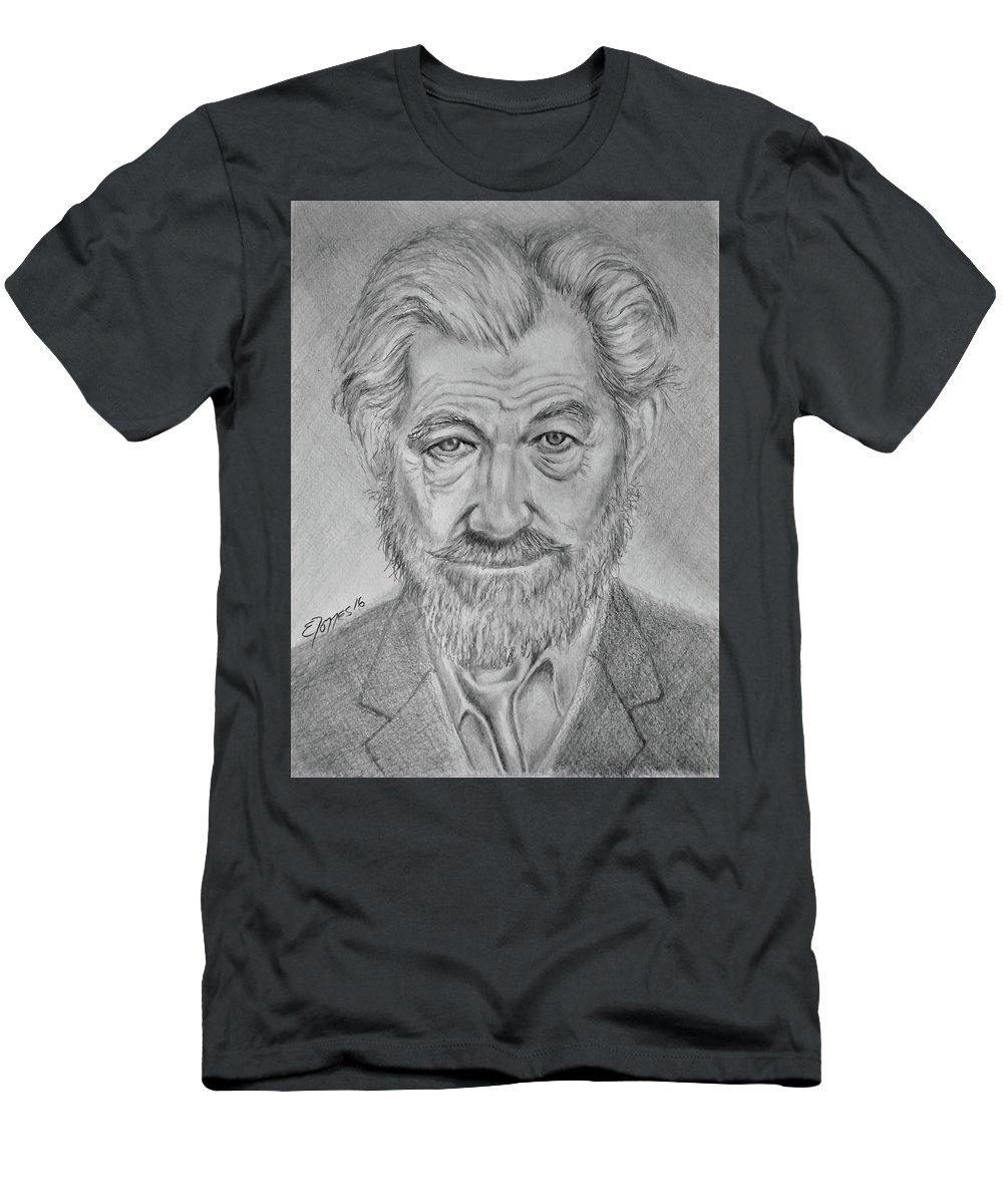 Sir Ian Machellen Men's T-Shirt (Athletic Fit) featuring the drawing Sir Ian Machellen by Edgar Torres