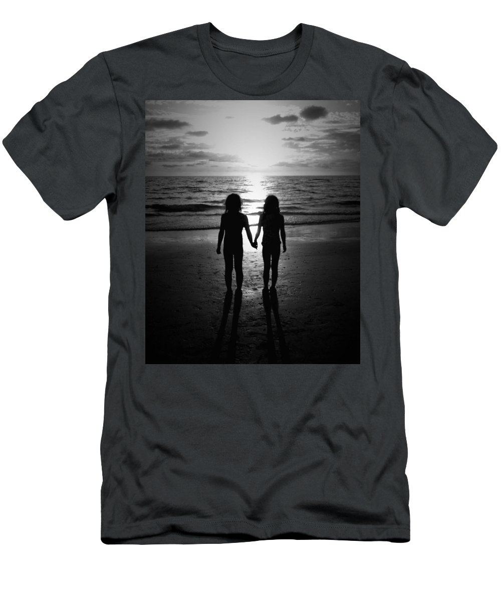 Black And White Men's T-Shirt (Athletic Fit) featuring the photograph Sisters In Black And White by Kim Comeau