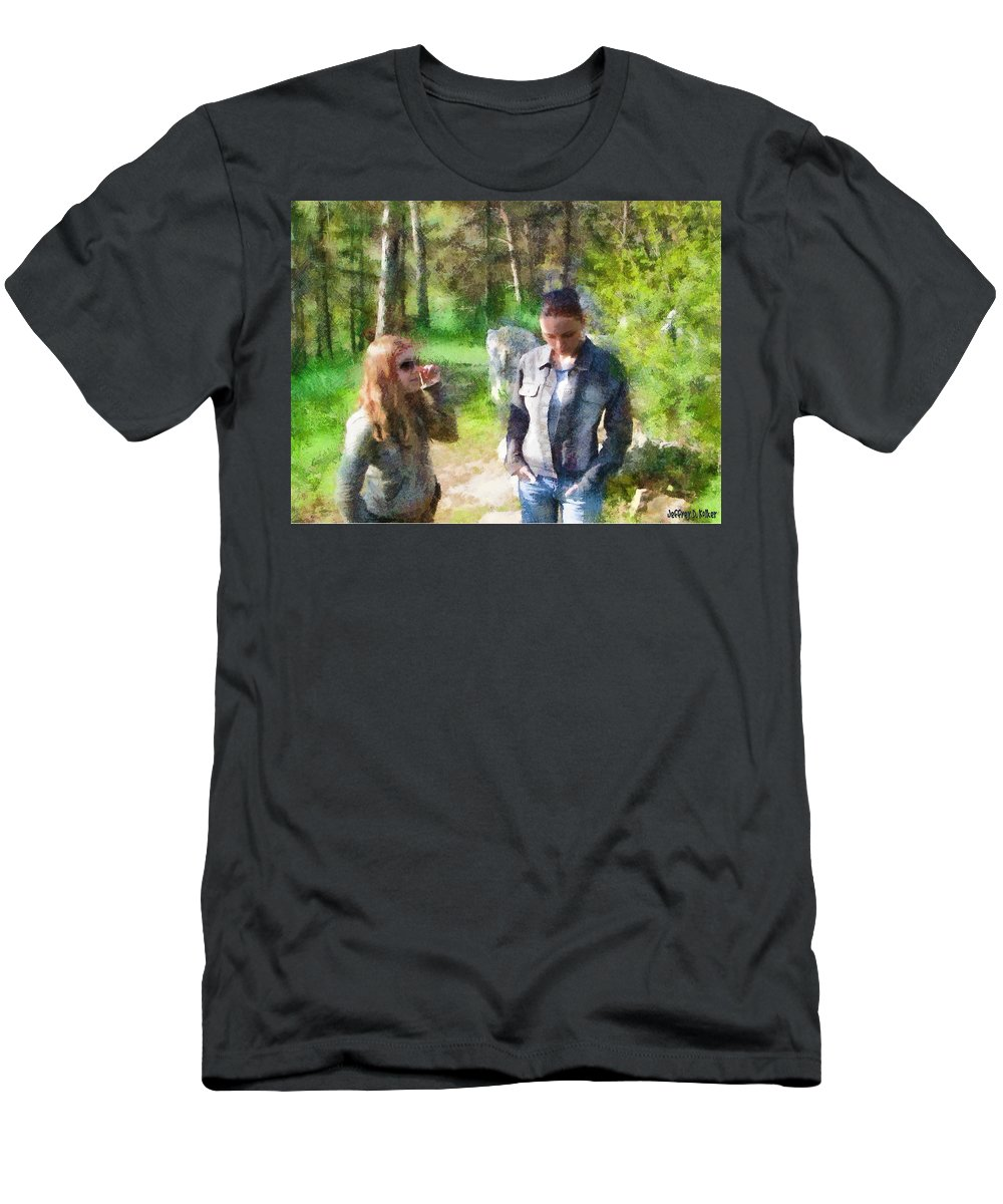 Sisters Men's T-Shirt (Athletic Fit) featuring the painting Sisters by Jeffrey Kolker