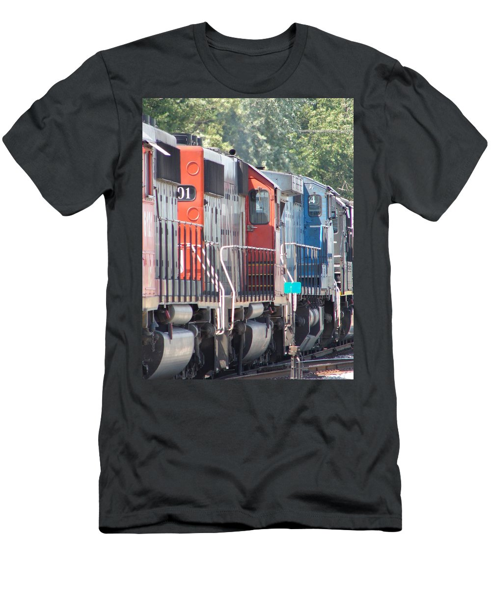 Men's T-Shirt (Athletic Fit) featuring the photograph Sitting In The Switching Yard by J R  Seymour
