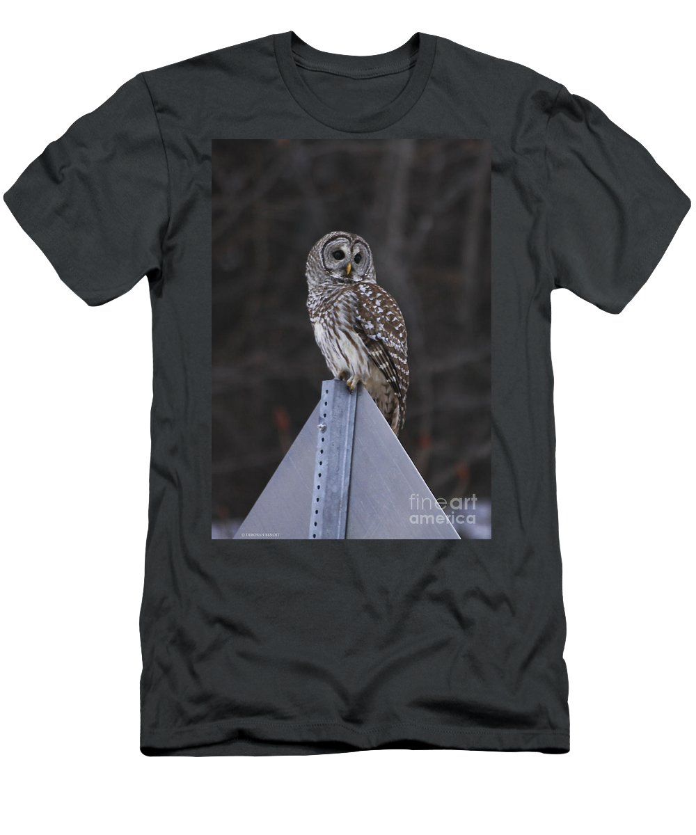 Bird Men's T-Shirt (Athletic Fit) featuring the photograph Sitting On The Sign Post by Deborah Benoit