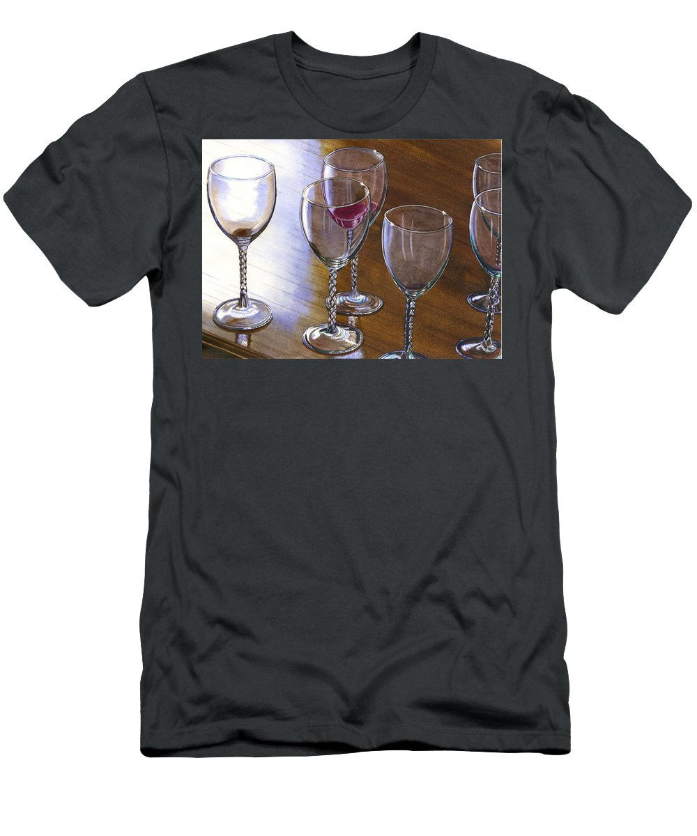 Glasses Men's T-Shirt (Athletic Fit) featuring the painting Six Wine Glasses by Catherine G McElroy