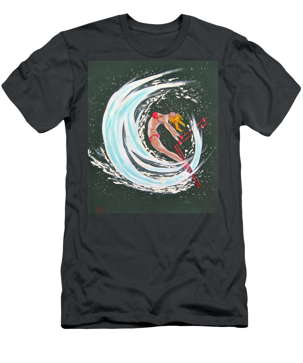Abstract Sports Men's T-Shirt (Athletic Fit) featuring the painting Ski Bunny by V Boge