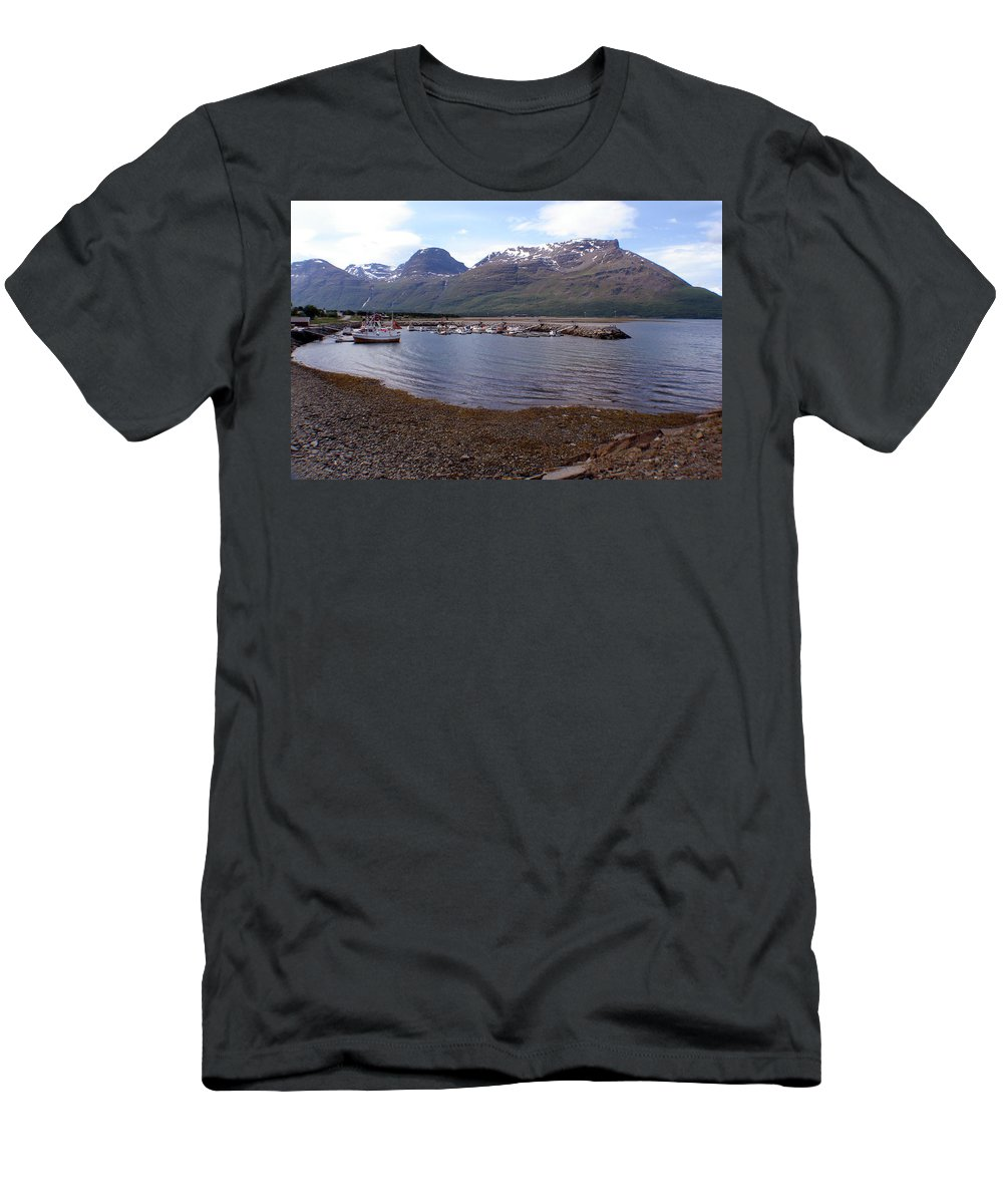 Skibotn Men's T-Shirt (Athletic Fit) featuring the photograph Skibotn Harbor Norway by Merja Waters