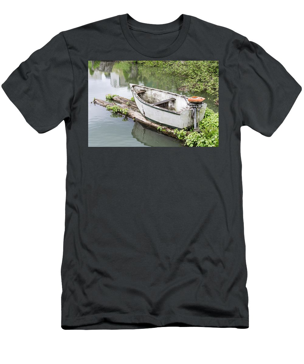 Boat Men's T-Shirt (Athletic Fit) featuring the photograph Skiff And Motor by John Trax