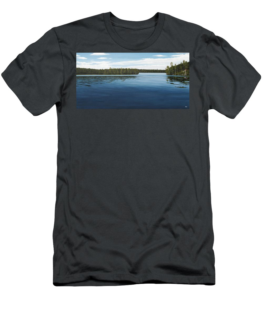 Landscapes Men's T-Shirt (Athletic Fit) featuring the painting Skinners Bay Muskoka by Kenneth M Kirsch