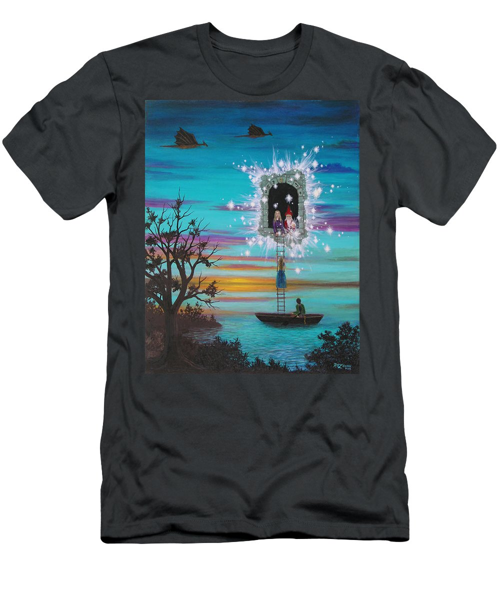 Fantasy T-Shirt featuring the painting Sky Window by Roz Eve