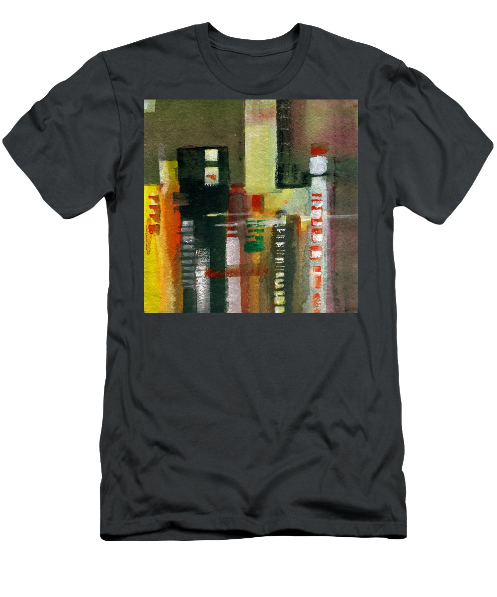 Townscape Men's T-Shirt (Athletic Fit) featuring the painting Skyscrapers by Anil Nene