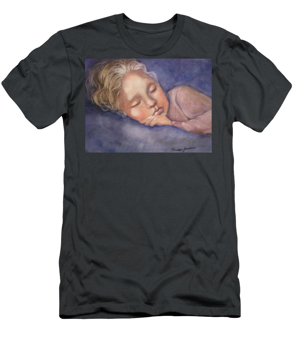 Sleeping Girl Men's T-Shirt (Athletic Fit) featuring the painting Sleeping Beauty by Marilyn Jacobson