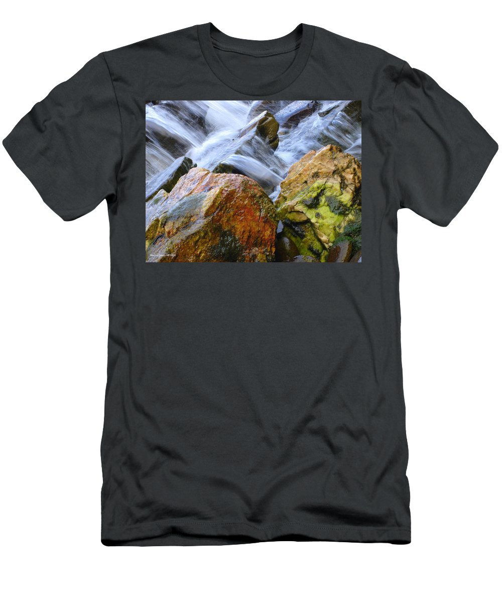 Rocks Men's T-Shirt (Athletic Fit) featuring the photograph Slippery When Wet by Shelley Jones