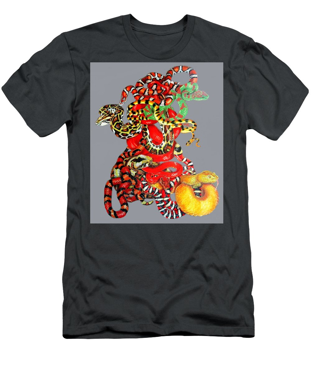 Reptile Men's T-Shirt (Athletic Fit) featuring the drawing Slither by Barbara Keith