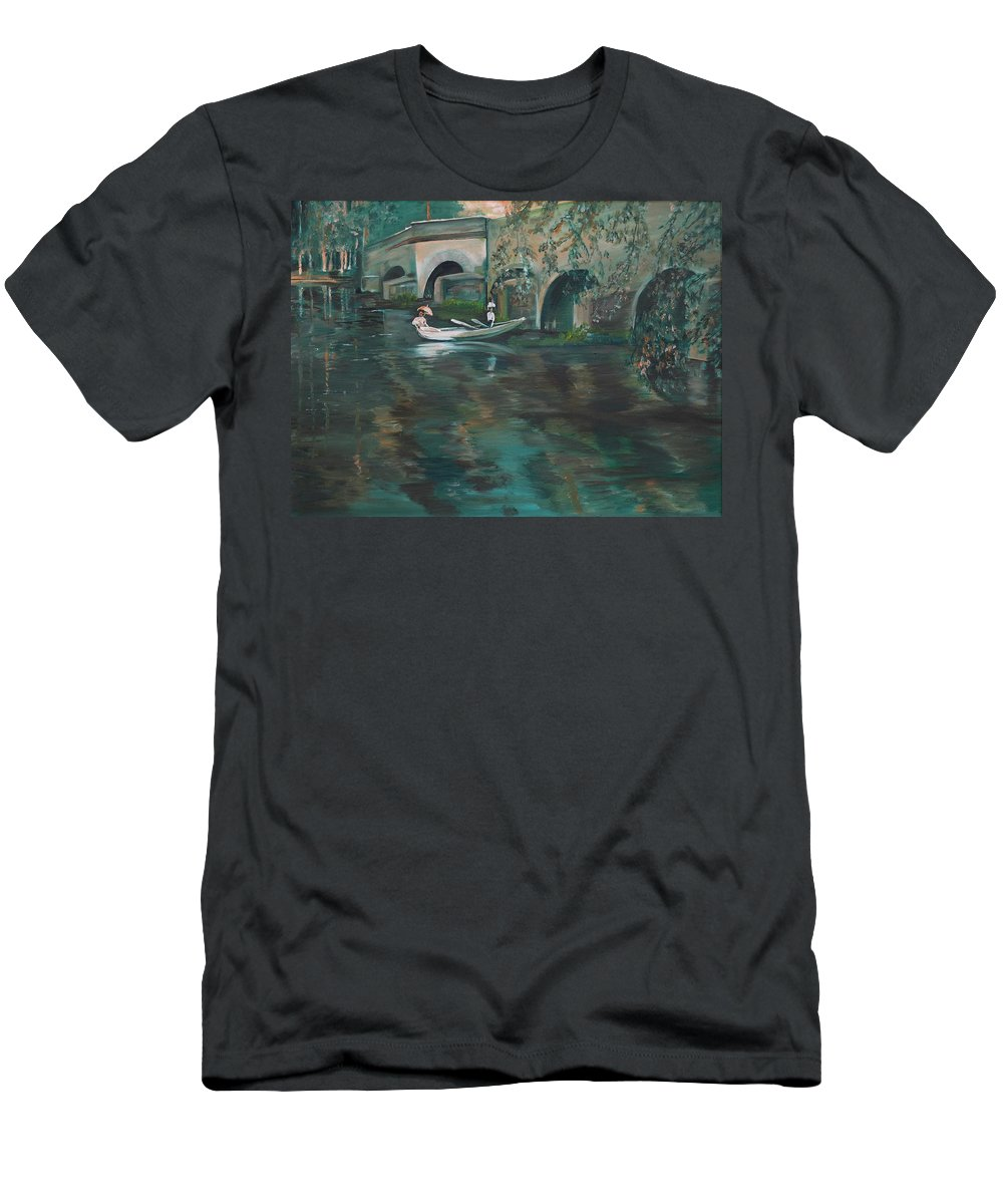 River Men's T-Shirt (Athletic Fit) featuring the painting Slow Boat - Lmj by Ruth Kamenev