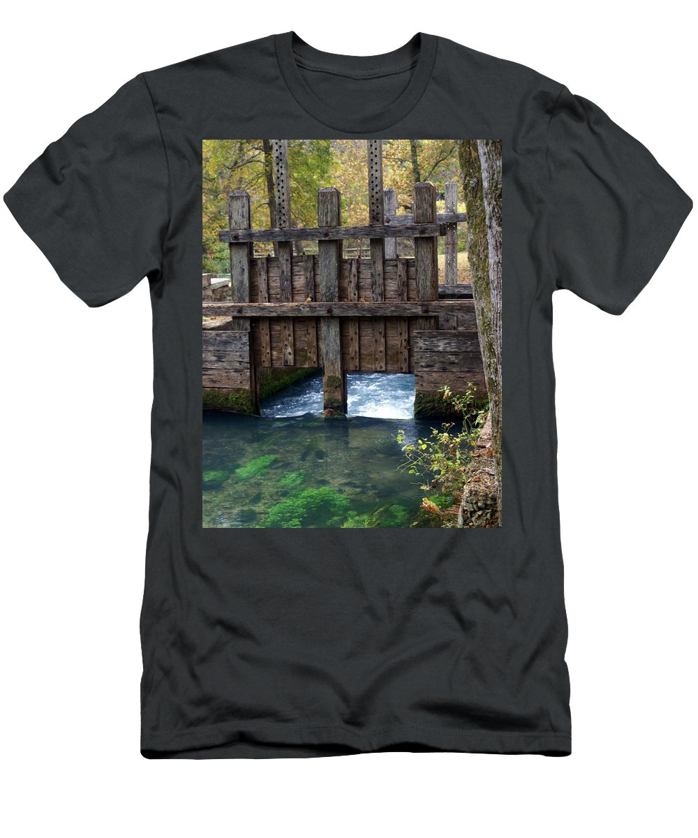 Alley Spring Men's T-Shirt (Athletic Fit) featuring the photograph Sluce Gate by Marty Koch