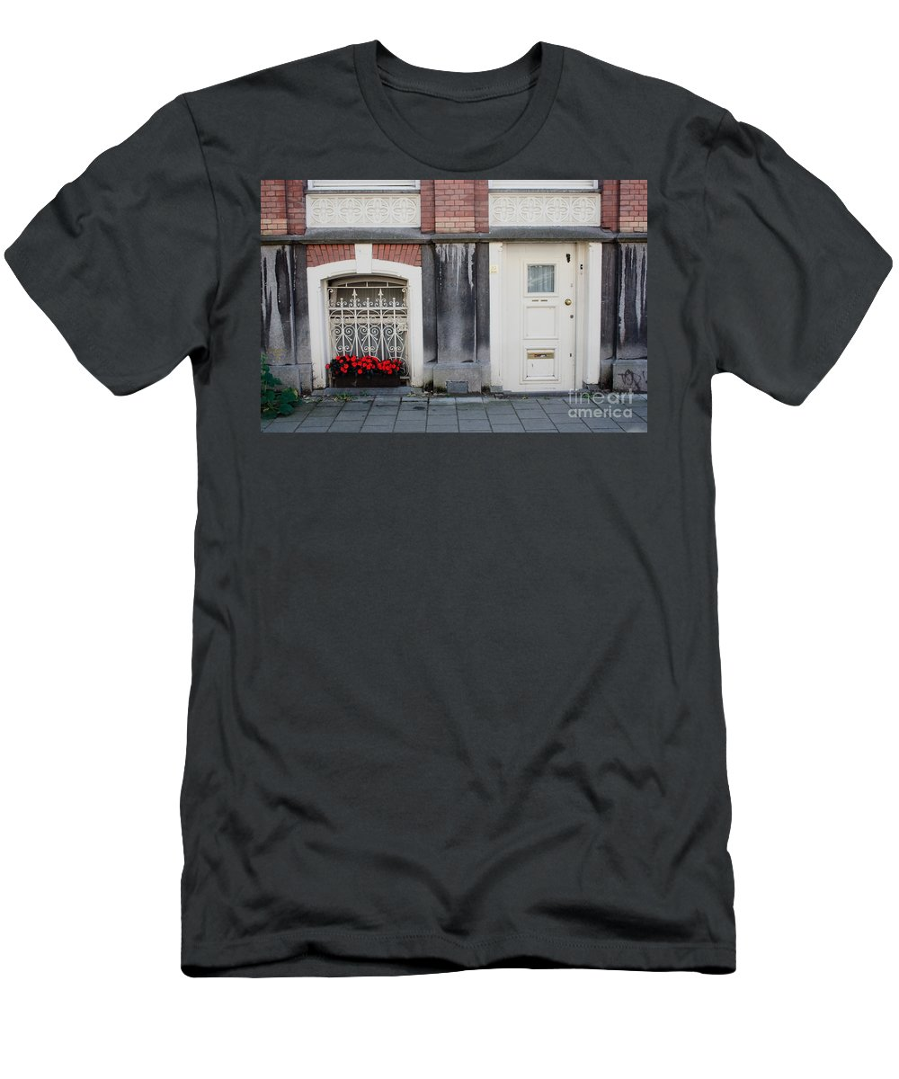 Flower Men's T-Shirt (Athletic Fit) featuring the photograph Small Door And Flower Box Amsterdam by Thomas Marchessault