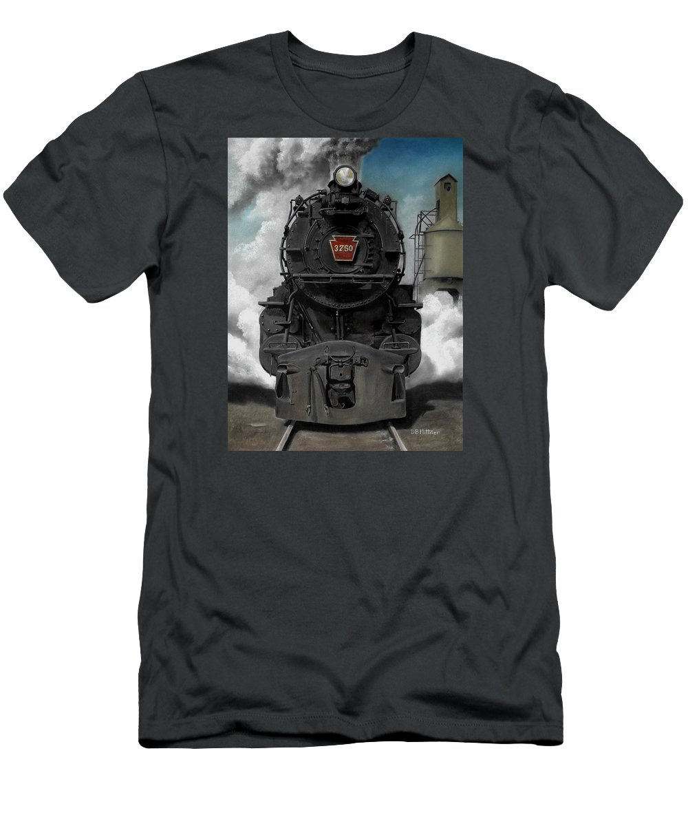 Trains Men's T-Shirt (Athletic Fit) featuring the painting Smoke And Steam by David Mittner