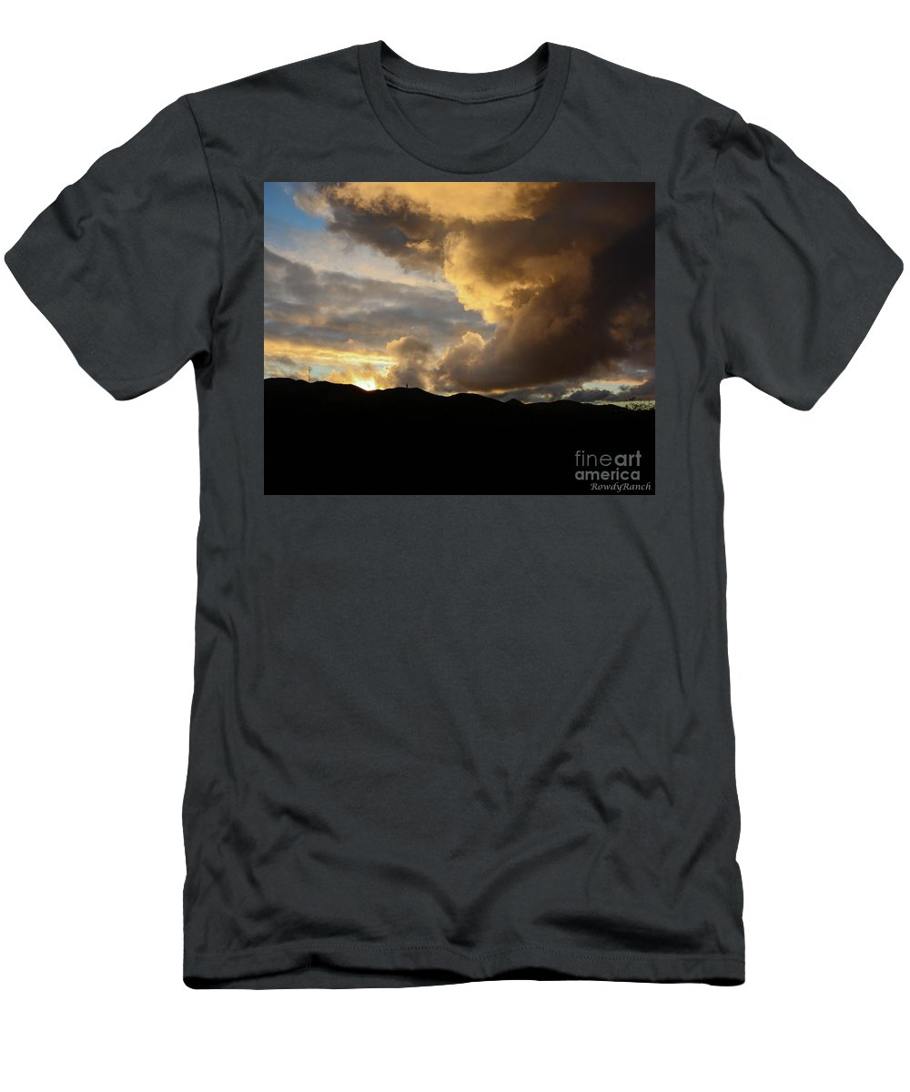 Sunset Men's T-Shirt (Athletic Fit) featuring the photograph Smoke Like Sunset by Katie Brown