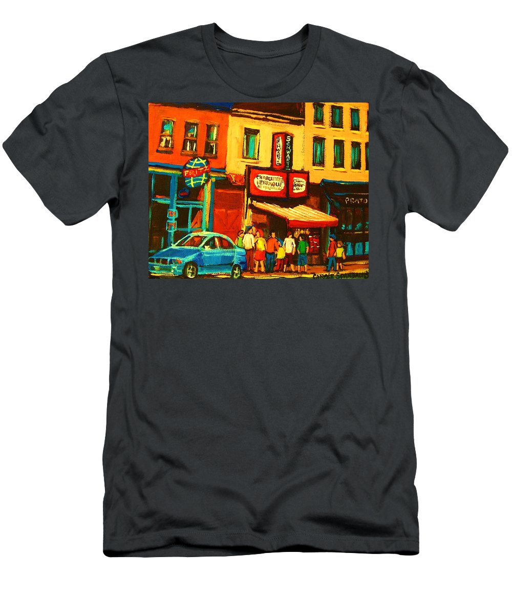 Montreal Smoked Meat Restaurants City Scenes Men's T-Shirt (Athletic Fit) featuring the painting Smoked Meat Sandwiches Await by Carole Spandau