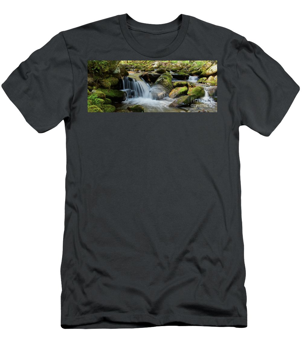 Nature Men's T-Shirt (Athletic Fit) featuring the photograph Flowing Stream #3, Smoky Mountains, Tennessee by Stanton Tubb