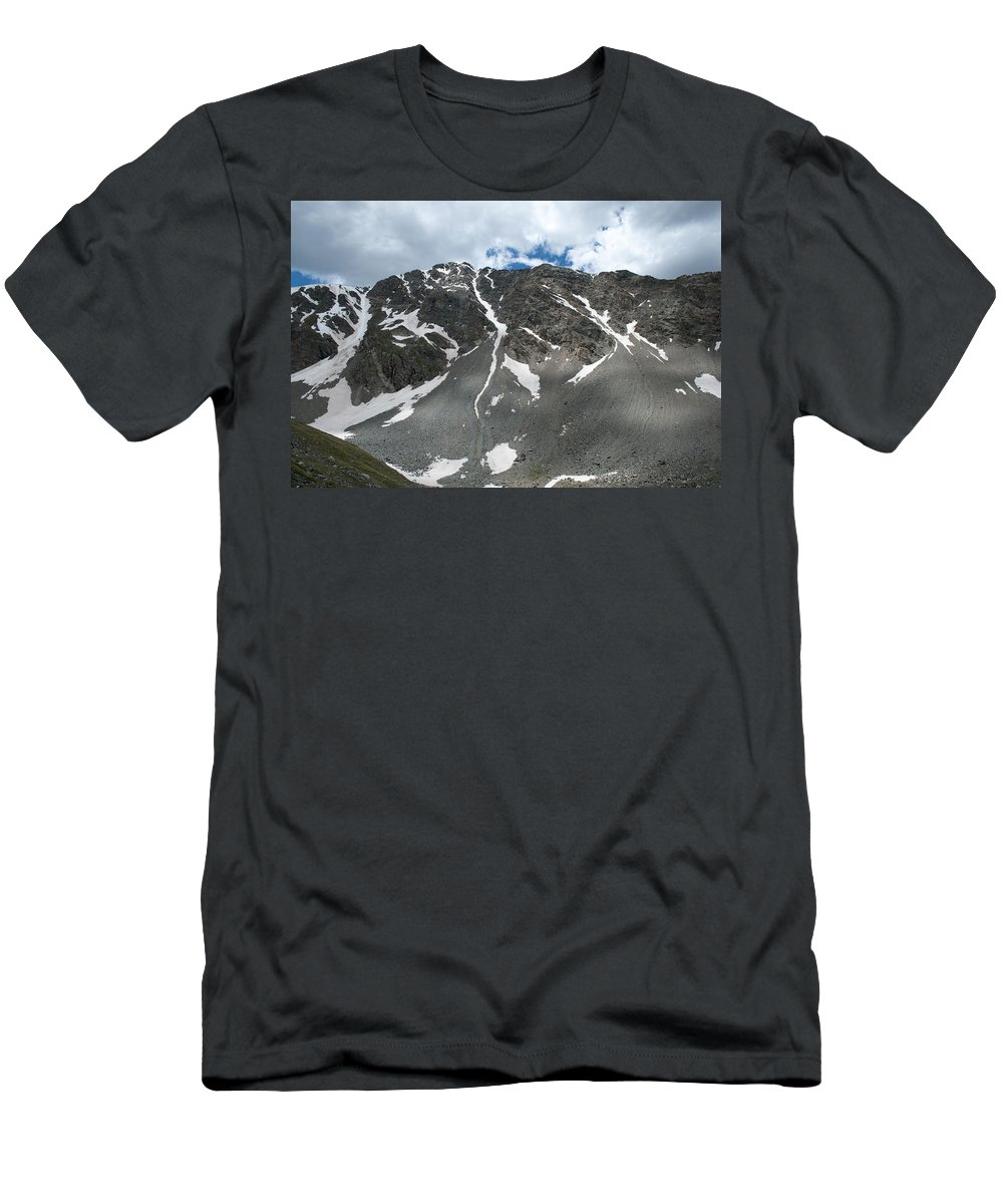 Mountains Men's T-Shirt (Athletic Fit) featuring the photograph Snow And Rock by Angus Hooper Iii