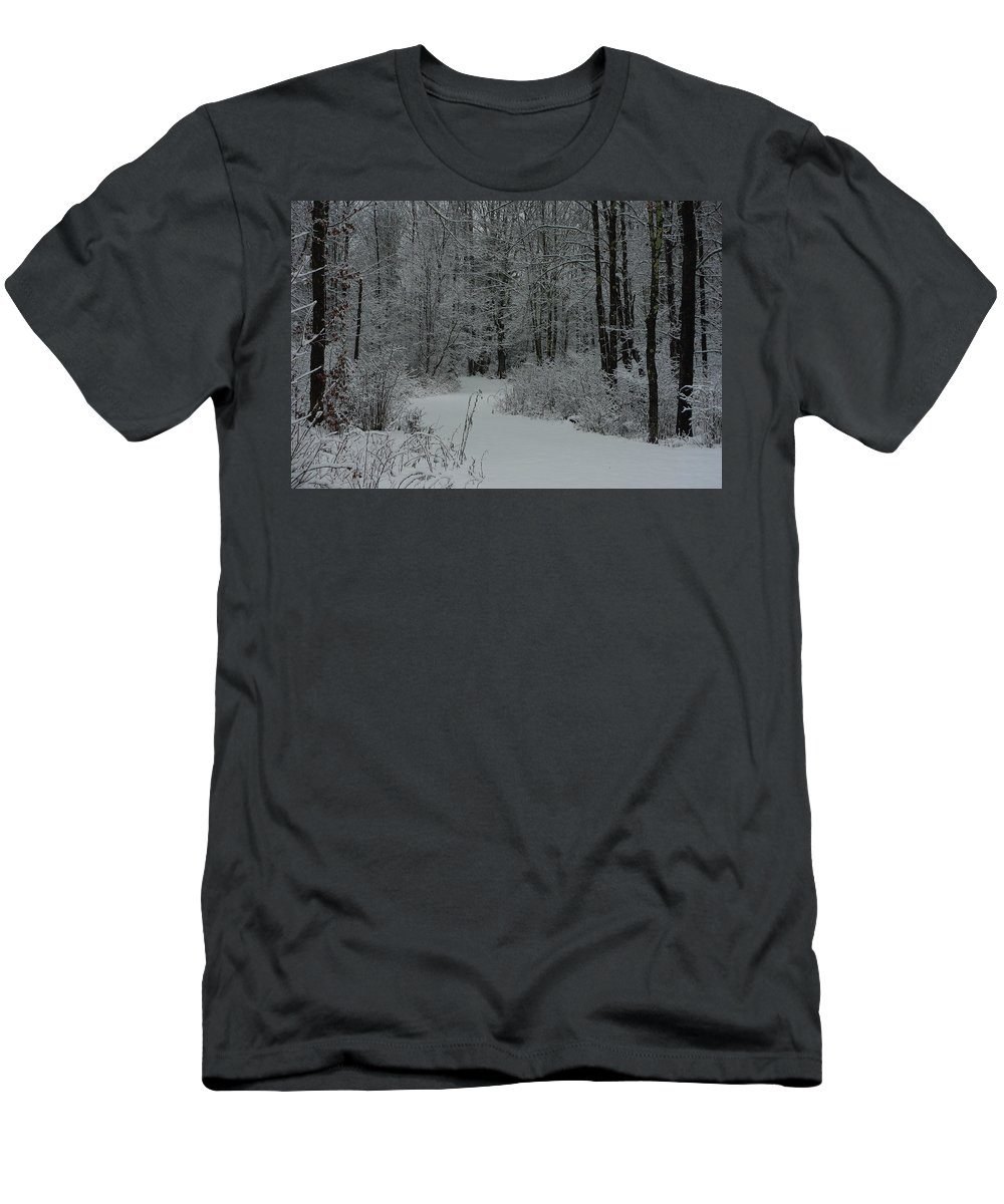 Snow Men's T-Shirt (Athletic Fit) featuring the photograph Snow Covered Path Into The Woods by Alice Markham