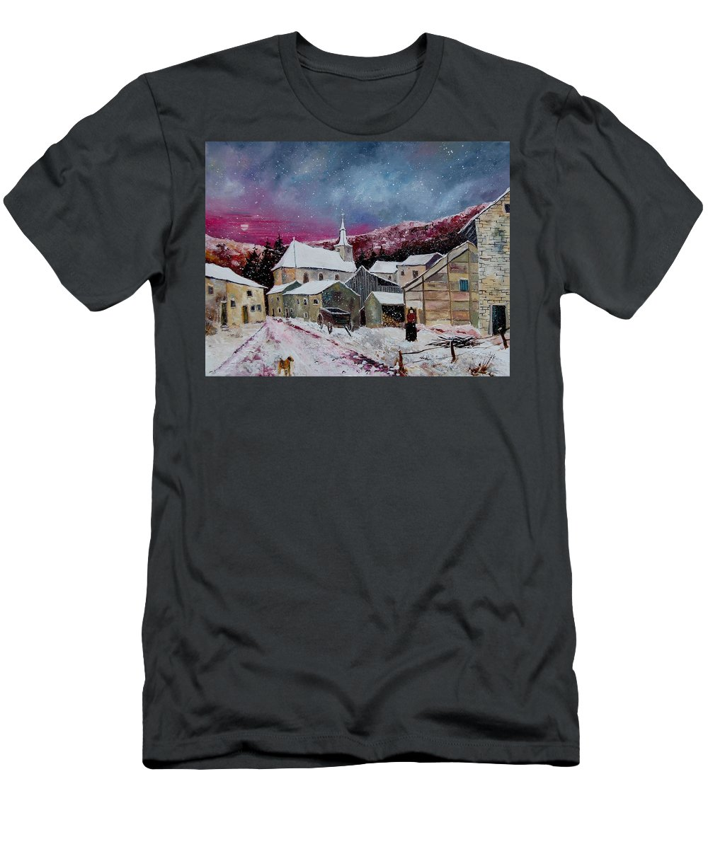 Snow Men's T-Shirt (Athletic Fit) featuring the painting Snow Is Falling by Pol Ledent
